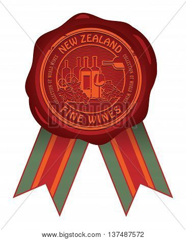 Wax seal with the words New Zealand, Fine Wines, vector illustration
