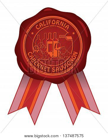 Wax seal with the words California, Cabernet Sauvignon, vector illustration
