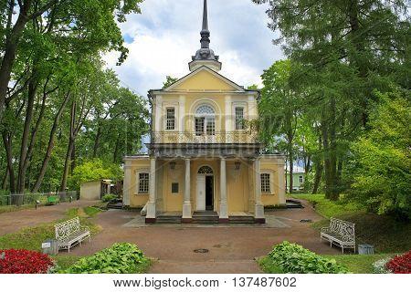 Znamenskaya Church in Catherine park, Tsarskoye Selo (Pushkin), architect Blank, neighborhood of Saint-Petersburg, Russia
