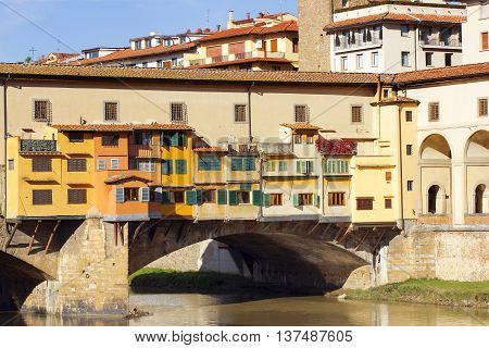 medieval stone bridge Ponte Vecchio over the Arno River in Florence, Tuscany, Italy