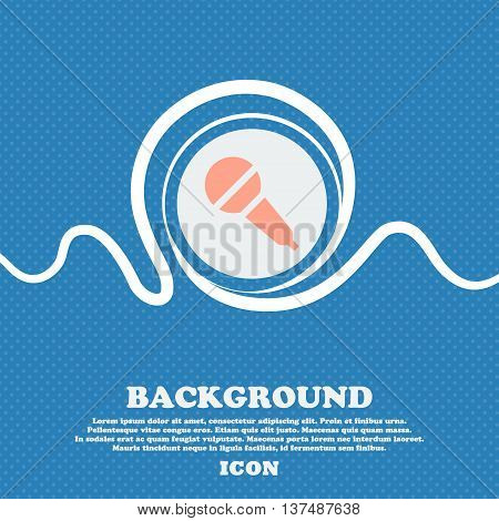 Microphone Sign. Blue And White Abstract Background Flecked With Space For Text And Your Design. Vec