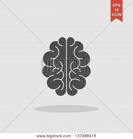 Brain Icon. Flat Style Illustration.