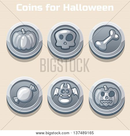 silver coins for Halloween in vector icons