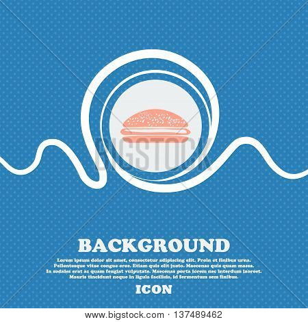 Burger, Hamburger Sign. Blue And White Abstract Background Flecked With Space For Text And Your Desi