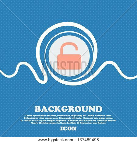 Open Padlock  Sign Icon. Blue And White Abstract Background Flecked With Space For Text And Your Des