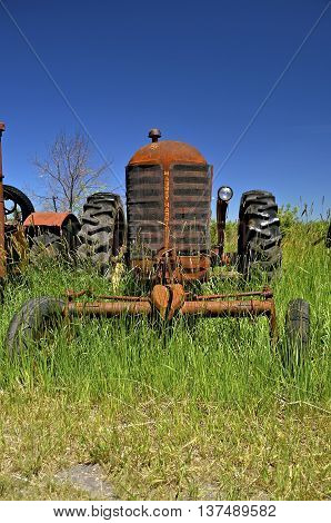 BARNESVILLE, MINNESOTA, June 15, 2016: The Massey Fergus tractor name disappeared when a merger of Massey Harris and the Ferguson Company farm machinery manufacturer occurred in 1953.