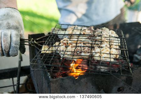 Chicken on barbecue grill with fire. Preparation of meat slices in sauce on fire
