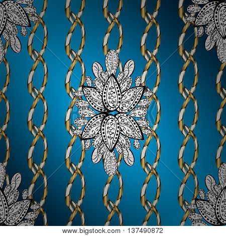 Vintage pattern on blue radient background with golden and silver elements.