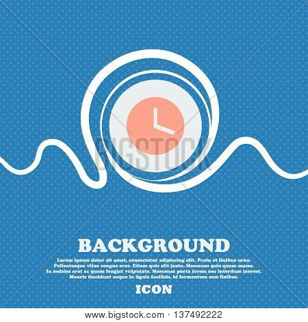 Mechanical Clock   Sign Icon. Blue And White Abstract Background Flecked With Space For Text And You