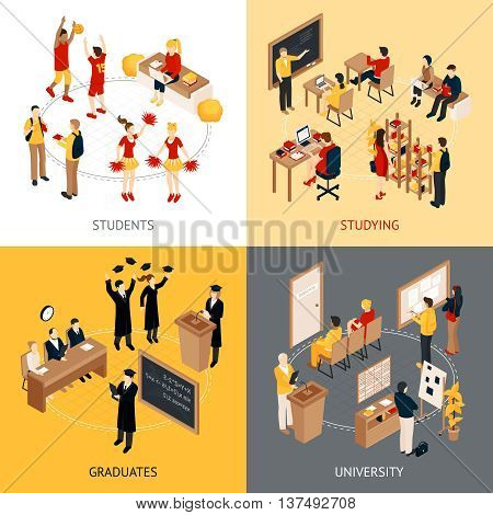 College and university isometric design concept 2x2 icons set with students in classrooms graduates and lecturers isolated vector illustration