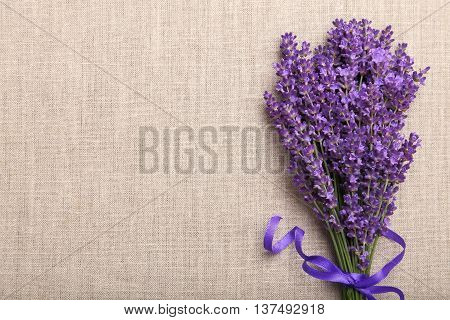 Bunch of lavender on a linen background.