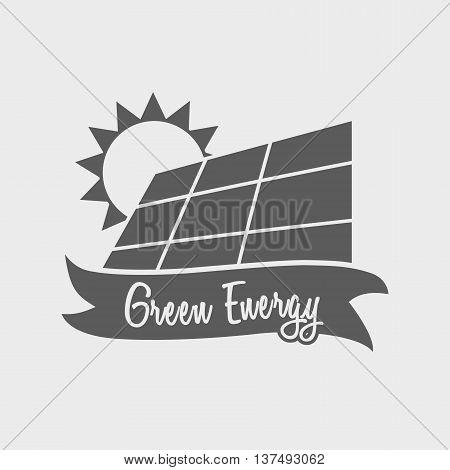 Green Energy Energy Logo, Label Or Symbol Design Concept With Solar Panel And Sun