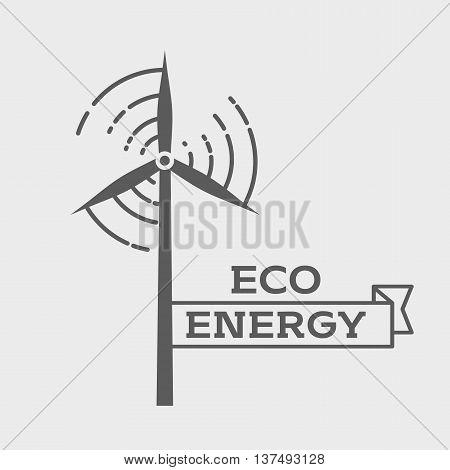 Eco Energy Logo Or Label Design Template. Wind Energy Generator. Wind Farm Symbol