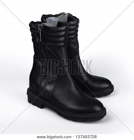 stylish Black boot isolated on white background.
