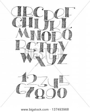 English hand drawn abc from a to z and numbers set. Capital font made with nib and serif decorated hatch alphabet painted freehand. Isolated on white background vector illustration. Hatched letters.