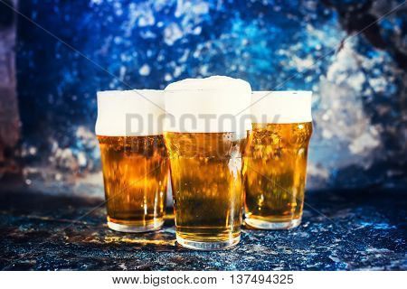 Glasses Of Lager Beer, Light Beers Served Cold At Pub