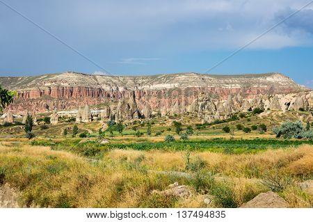 Mountains of Rose valley in Goreme national park Cappadocia Turkey