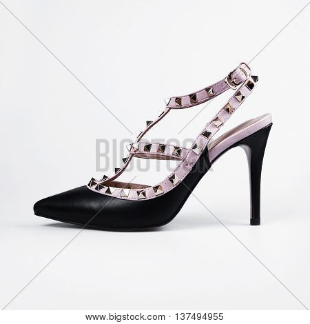 Pair Of Black Female Shoes Isolated On White Background