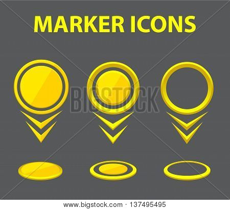 Vector markers. Collection of yellow markers. Set map pointers. Pointer icons. Illustration pointers.