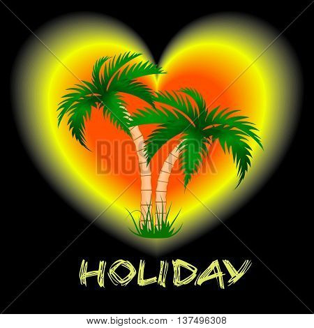 two palm trees against a bright backgroundVector illustration