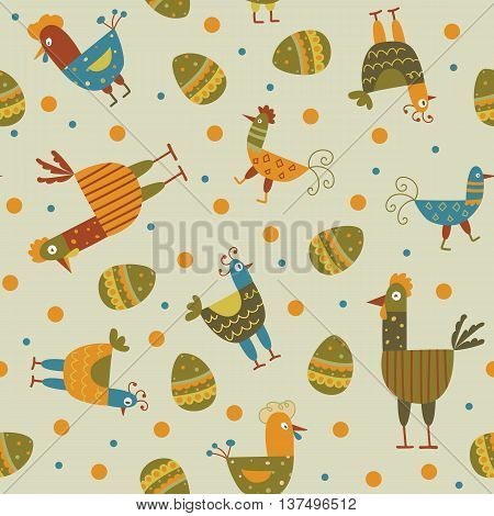 The color animal background - Funny hen seamless background