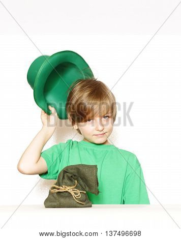 cute young boy in a green hat - holiday St. Patrick
