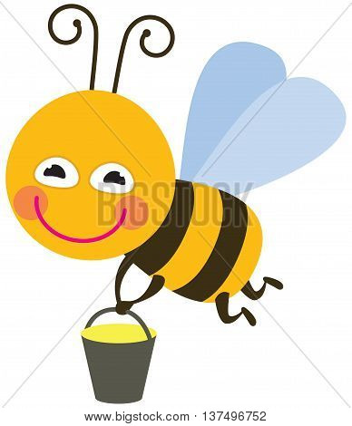 Bee with honey - the vector color illustration