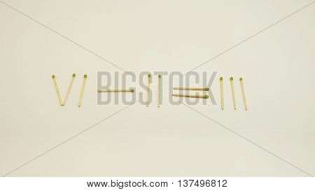 Abstract equation using matches. Isolated on white background.
