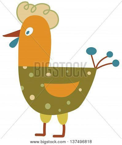 Funny hen - the vector color illustration