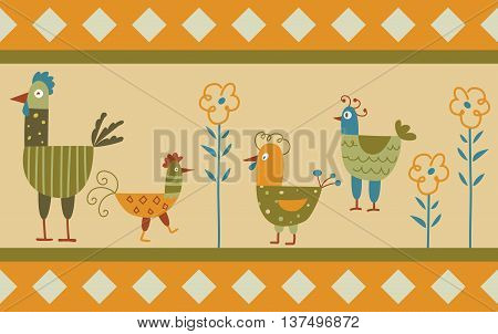 Funny hen background - the vector color illustration