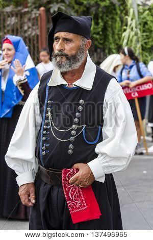 SELARGIUS, ITALY - September 13, 2015: Former marriage Selargino - Sardinia - portrait of a man in traditional Sardinian costume