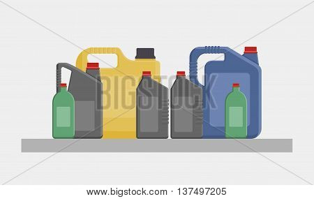 Vector Flat Illustration Of Different Canisters And Bottles With Engine Or Motor Oil Isolated On Whi