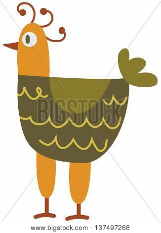 Funny hen - the vector color illustration icon