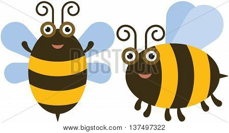 Funny bee icon - the vector color illustration icon