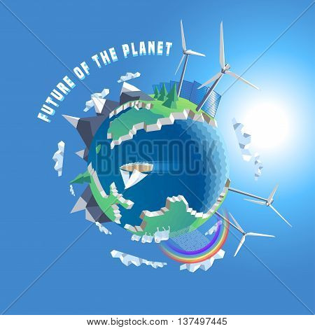 Little planet vector illustration. Eco world 3d land. Isolated design elements - wind solar power tree map Earth