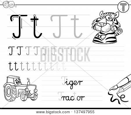 Learn To Write Letter T