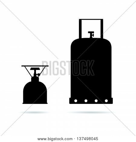 Gas Cylinder Set In Black Color Art Illustration
