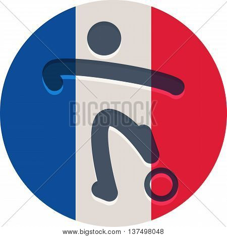 Football icon on French flag background - the vector color icon