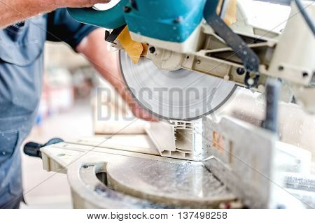 Cutting Window Frame Profile. Circular Saw Or Sliding Compound M