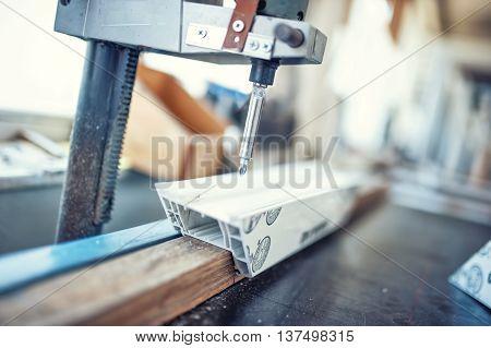 Industrial Metal Drilling Tool In Factory. Metal Industrial Mach