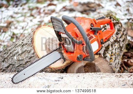 Gasoline Powered Professional Chainsaw On Pile Of Cut Wood Again