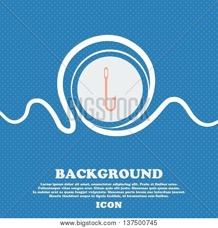 Fishing Hook Icon Sign. Blue And White Abstract Background Flecked With Space For Text And Your Desi