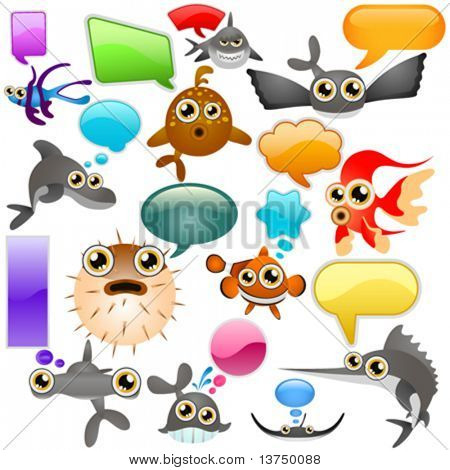 vida marina cartoon character set 2