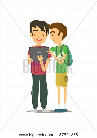 two friends working with laptop and discussing something. Isolated on white background. Vector illustration. EPS 10