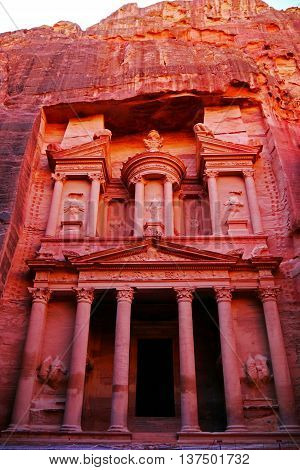 Beautiful view of The Treasury, Petra, Jordan