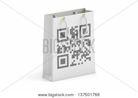 shopping bag with qr code 3D rendering isolated on white background