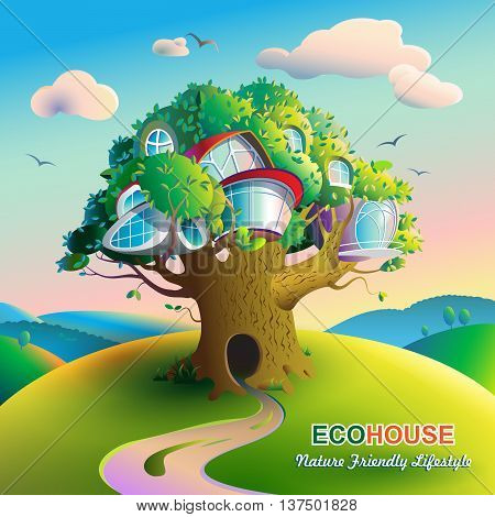 Vector illustration on the theme of ecological housing. Colorful bright landscape with a large tree on which there are futuristic houses. Caption: Nature Friendly Lifestyle