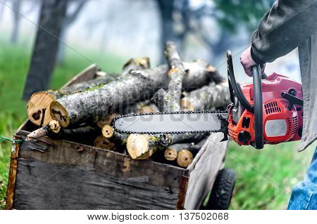 Close Up Of Forest Worker, Lumberjack With Chainsaw Against Logs