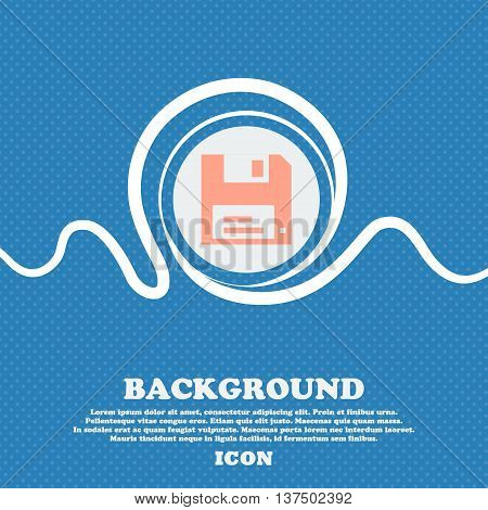 Floppy  Sign Icon. Blue And White Abstract Background Flecked With Space For Text And Your Design. V