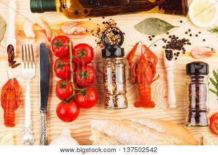 Spices, Silverware Between Cherry Tomatoes And Cancers